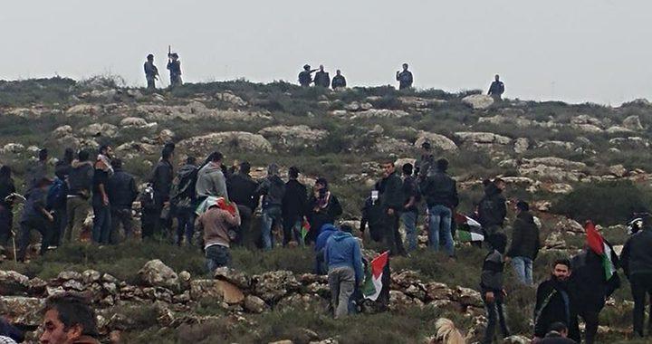الاحتلال يقمع فعالية لزراعة الاشجار جنوب نابلس