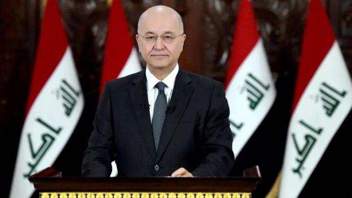 الرئيس العراقي يؤكد على ضرورة ايجاد حل عادل وشامل للشعب الفلسطيني
