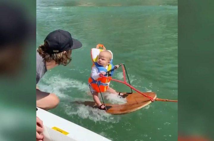 شاهد .. طفل رضيع يتزلج على الماء