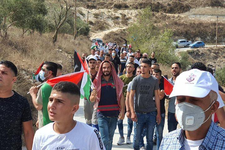 مسيرة شعبية في قرية عصيرة القبلية جنوب نابلس