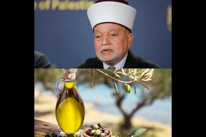 المفتي العام يدعو المزارعين لإخراج زكاة الزيت والزيتون لمستحقيها