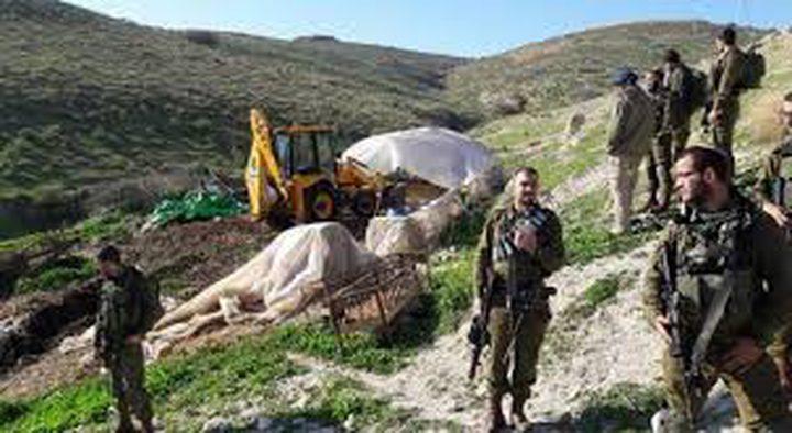 الاحتلال يهدم خيمة سكنية بالاغوار الشمالية