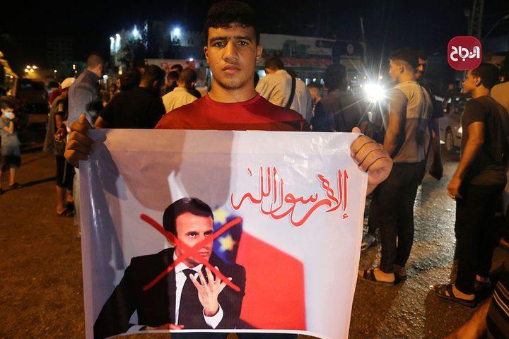 مسيرات في غزة ضد التحريض الفرنسي على الدين الاسلامي