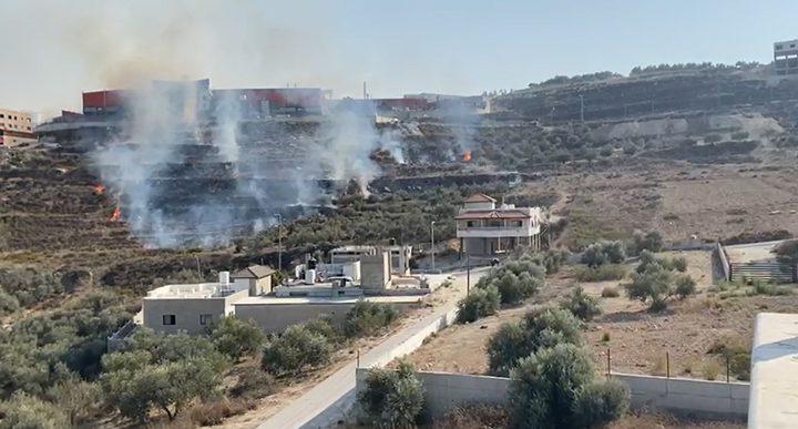 نابلس: اندلاع حريق قرب مصنع للألمنيوم في بيت ايبا