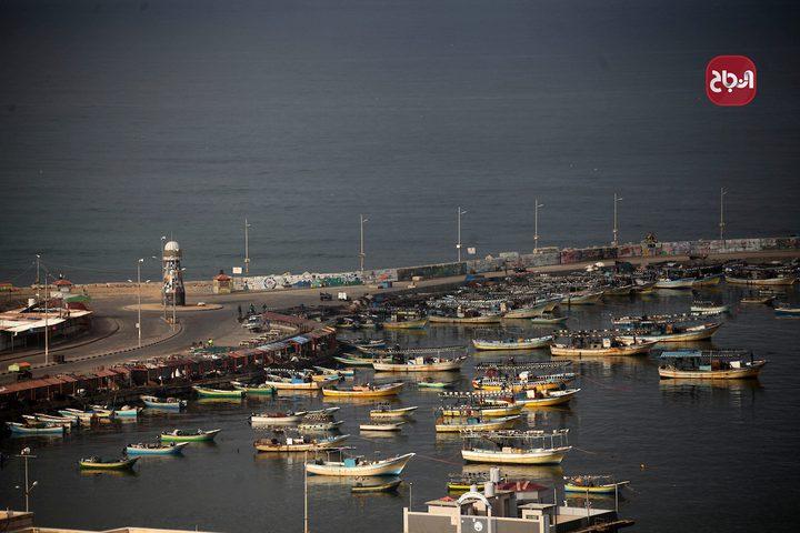 قوارب الصيد في ميناء غزة البحري