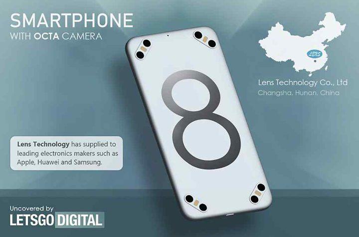شركة صينية تسجل براءة اختراع لهاتف بـ 8 كاميرات
