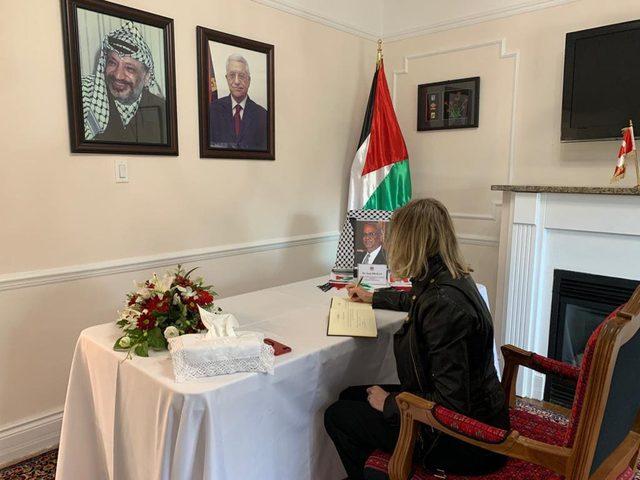 مفوضية فلسطين لدى كندا تستقبل المعزين بوفاة المناضل عريقات