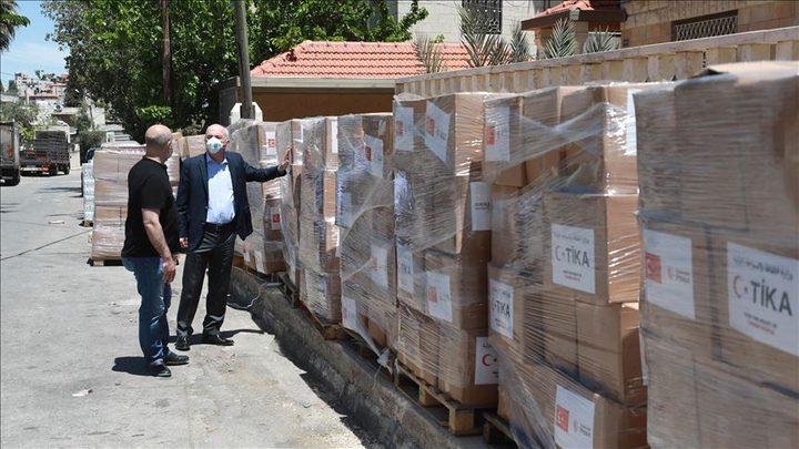 فلسطين تستلم الشحنة الثانية من المساعدات الطبية التركية