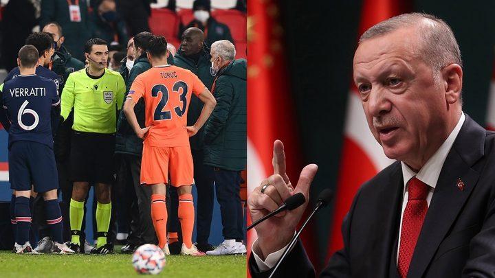 """أردوغان يدين العنصرية التي تعرض لها لاعب فريق بلاده """"باشك شهير"""""""