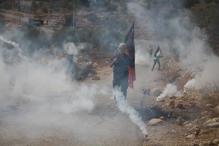 إصابات خلال قمع الاحتلال مسيرة منددة بالاستيطان شرق رام الله