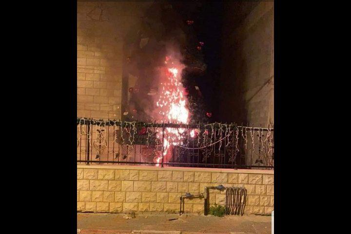 إضرام النار في شجرتي الميلاد في مدينة سخنين