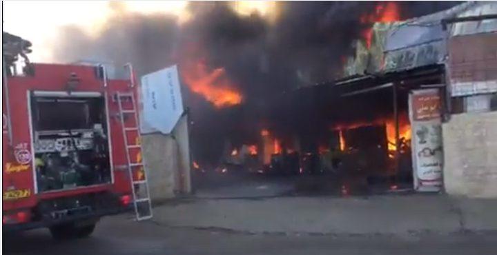 اندلاع حريق في مستودى قابلة للاشتعال شمال القطاع