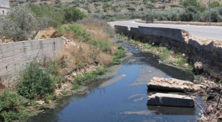مستوطنون يضخون المياه العادمة في أراضي المواطنين بقرية حوسان