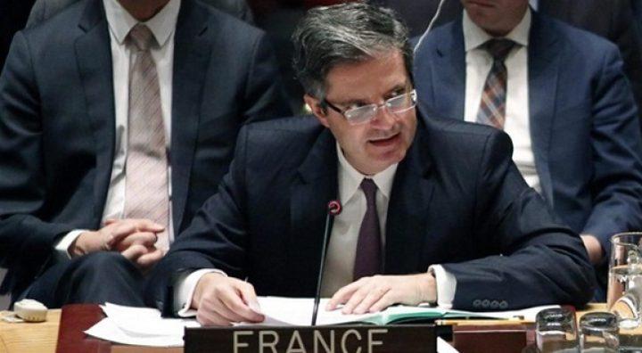 فرنسا تؤكد دعمها لإحلال السلام واحترم حقوق الشعب الفلسطيني