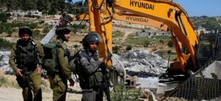 الاحتلال يهدم منزلا قيد الانشاء جنوب بيت لحم