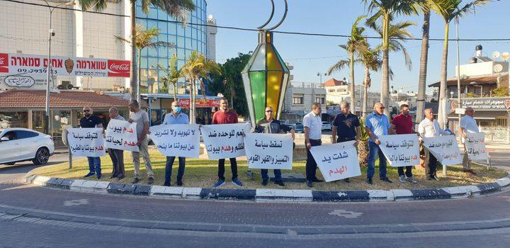 وقفة احتجاجية وإضراب عن التعلم عن بعد في الطيرة