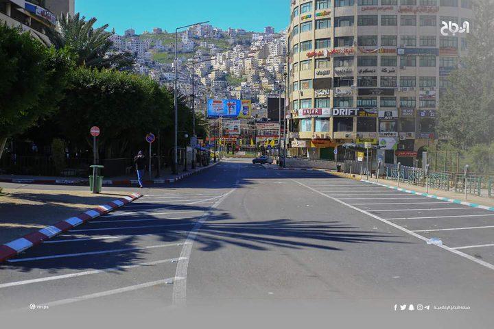 مدينة نابلس اليوم مع بدء سريان قرار الاغلاق