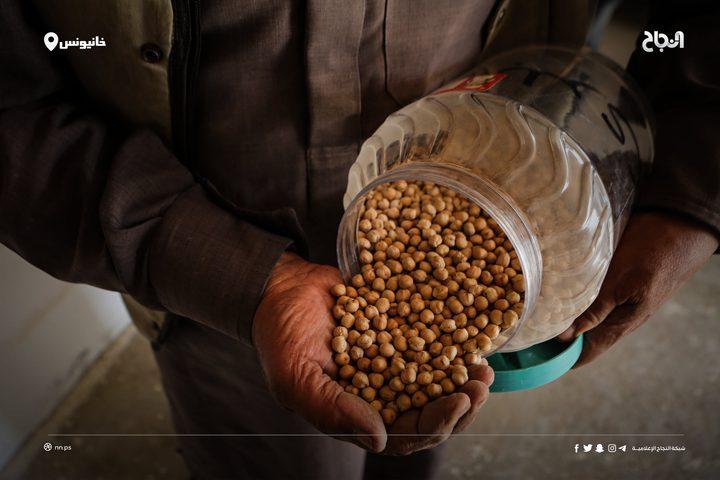 """المزارع الفلسطينيسلامة مهنامن شرق مدينة خانيونس جنوب قطاع غزة، يعمل على تجميع أصناف البذور الزراعيةداخل """"بنك البذور البلدية"""" في مساحة خصّصها وسط أرضهبهدف الحفاظ على جودتهاوعلى توافرها في مختلف المواسم الزراعية."""
