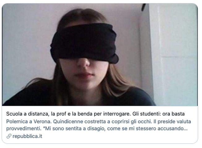 مدرسة إيطالية ترغم طالبتها على عصب عينيها أثناء الامتحان !