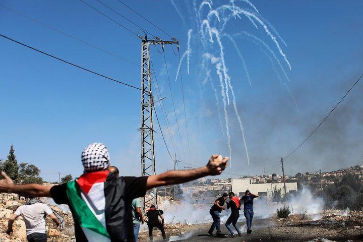 إصابة شاب بعيار إسفنجي جراء قمع الاحتلال مسيرة كفر قدوم