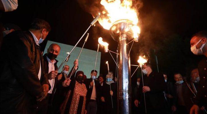 إيقاد شعلة انطلاق فعاليات يوم الأسير الفلسطيني في طوباس
