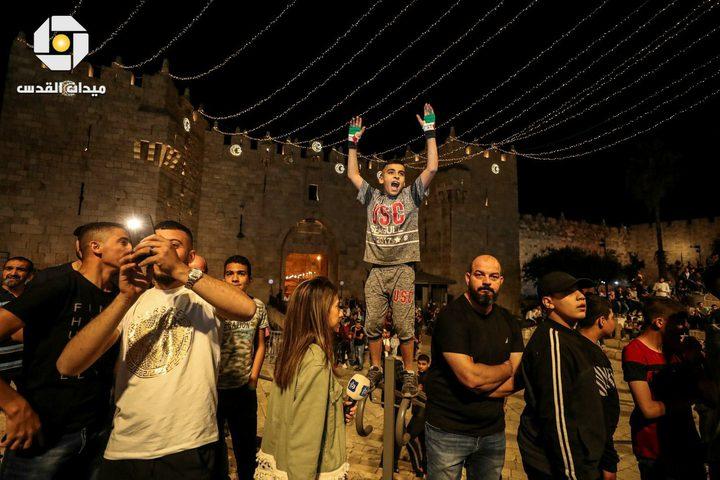 صور من الأجواء الاحتفالية في منطقة باب العامود بالقدس المحتلة