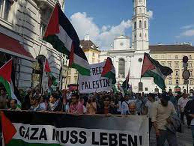 وقفة في فيينا دعما لفلسطين