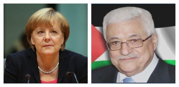 الرئيس يطلع المستشارة الألمانية على حقيقة جرائم الاحتلال