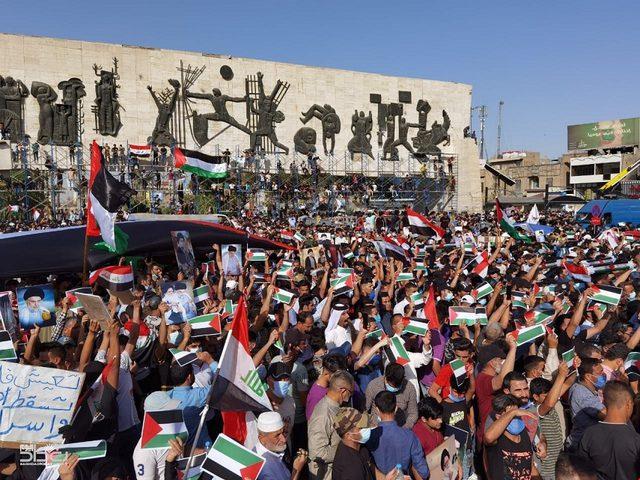 وقفة تضامنية في بغداد منددة بعدوان الاحتلال المتواصل على فلسطين