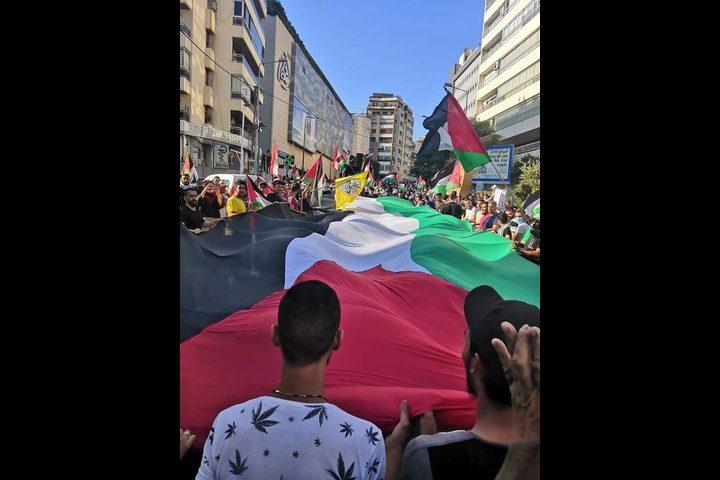 مسيرة ووقفة تضامنية في بيروت دعما لفلسطين وتنديدا بالعدوان عليها