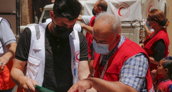 """غزة: """"الهلال الأحمر"""" يتسلم شحنة مساعدات كويتية"""
