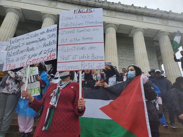 مظاهرة حاشدة في واشنطن تنديدا بجرائم الاحتلال