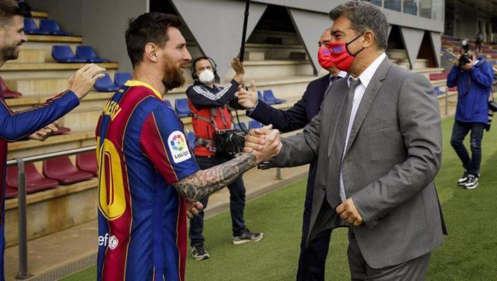 قبل ساعات على انتهاء عقد ميسي مع برشلونة..لابورتا يرد بكلمة واحدة