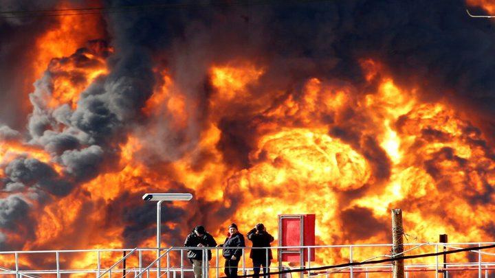 السلطة الأردنية تعلن عن حريق كبير بمستودع للمواد الكيميائية