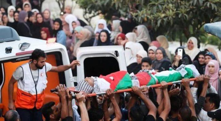 تشييع جثمان الشهيد الفتى يوسف محارب في قرية عبوين شمال رام الله