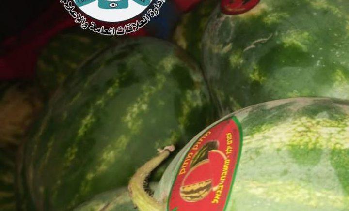 ضبط 25 طن بطيخ مهربة من إسرائيل شرق محافظة نابلس