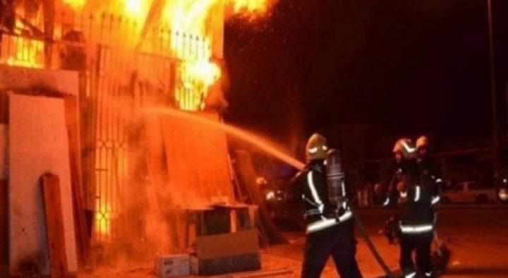 اخماد حريق هائل جنوب غرب نابلس