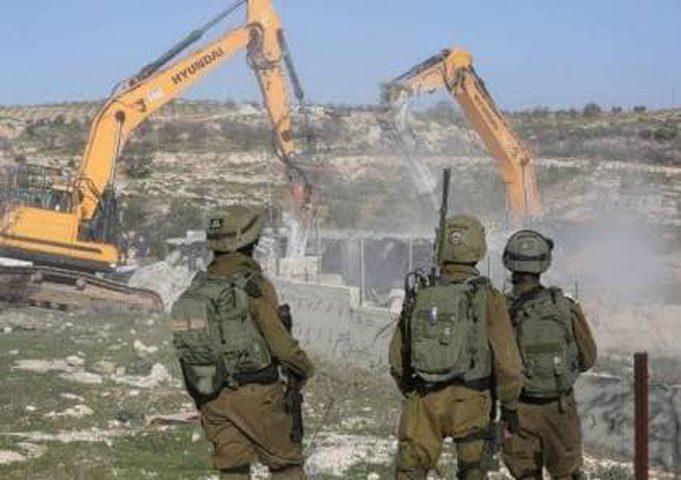 الاحتلال يهدم منشأة تجارية في بلدة يعبد للمرة الثانية