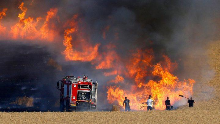 الاحتلال يزعم: حرائق في غلاف غزة بفعل بالونات حارقة
