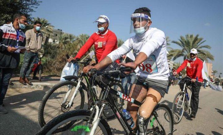 سباق دراجات هوائية لذوي الإعاقة في غزة