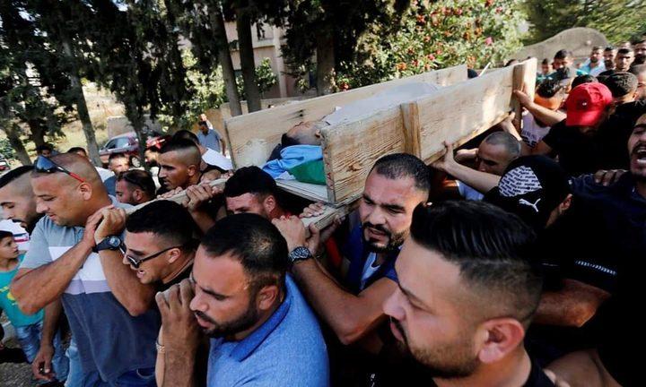 من وداع الشهيد جاد الله في قرية بيت عور التحتا غرب رام الله